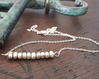 Small Gray Freshwater Pearl and Sterling Silver Necklace