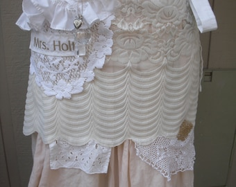 Aprons - Full  Lace White and Creme Apron - Bridal Aprons - Here Comes The Bride Aprons -  Shabby Chic Apron - French Flea Market Chic Apron