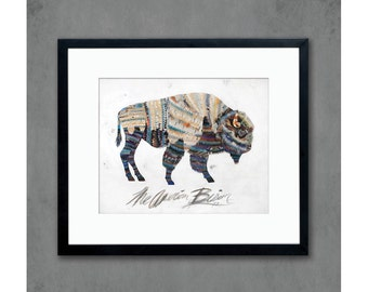 11 x 14 The American Bison Western Art Print with Blue