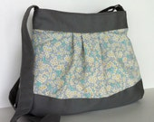 Summer cross body bag , floral messenger bag , fashion tote bag for women , fabric crossbody bag , teens shoulder bag , casual day bag