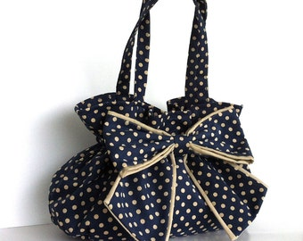 Bow bag Polka dot purse  Bow handbag  Everyday handmade Fashion bag in midnight blue and cream Girlfriend gift Top handle purse , fabric bag