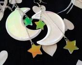 The Moon and Stars Laser Cut Acrylic Earrings
