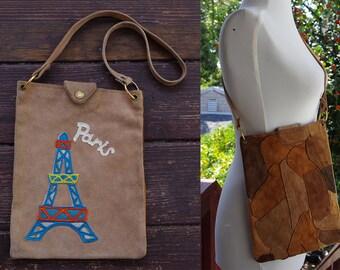 Tour De EIFFEL 1960's 70's Vintage Tan + Brown Suede Leather Patchwork Shoulder Purse with PARIS Felt Patch