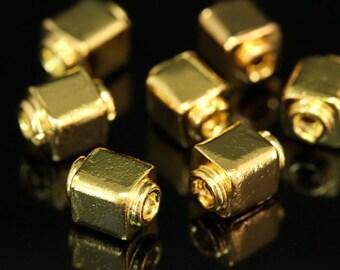 KG-216 thai karen hill tribes silver 4 gold vermeil cube bead