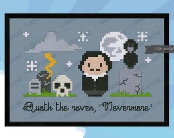 Edgar Allan Poe - Nevermore - Cross stitch PDF pattern