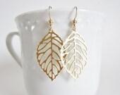 Gold filigree leaf earrings, small filigree earrings, gold leaf earrings, laser cut leaf earrings, boho earrings, delicate gold earrings