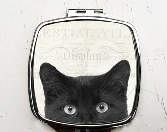 Peeping Tom Pocket Mirror  Black Cat Compact Mirror Halloween Mirror