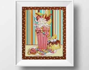 Milkshake Sweetheart Cross-Stitch Pattern
