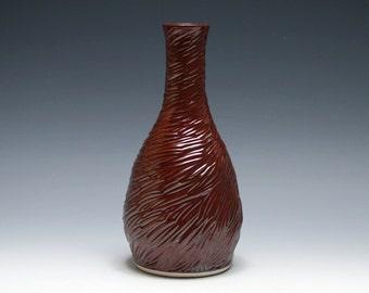 Carved Pottery Vase in Cinnamon