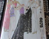 Vintage 70s McCalls 6875 Misses Tops Skirt and Pants Sewing Pattern size 12 B34