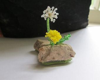 Miniature Beaded Tiny Dandelion Sculpture