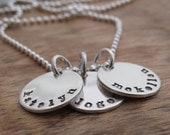 Personalized Name Necklace All Sterling Silver Hand Stamped Charm Custom Name or Date