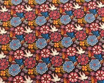 Frida Doves Fabric Coordinate Black Bkg 1 Yard