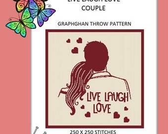 LiveLaughLove Couple - Graphghan Throw Pattern