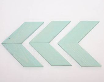Smaller Size - Mint Wood Arrow Wall Art Chevron Home Decor