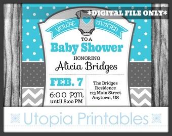Turquoise Gray Chevron Polka Dot Baby Shower Invitation Party Cute Theme Digital Printable Customized 5x7 White Grey Aqua Blue