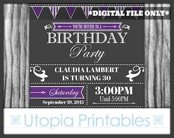 Purple Gray Birthday Invitation Formal Elegant Fancy Modern Contemporary Typography Party Adult Digital Printable 5x7 Dark Grey White