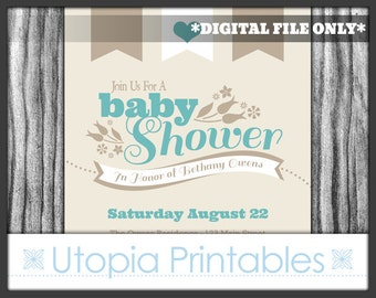 Modern Baby Shower Invitation Teal Brown Flower Typography Simple Theme Digital Printable Customized 5x7 White Tan Beige Aqua Blue Turquoise