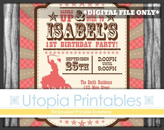 Cowgirl Theme Girl 1st Birthday Invitation Cowboy First Birthday – Cowboy First Birthday Invitations