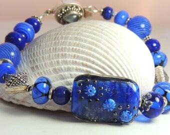 GALAXY Handmade Lampwork Bead Bracelet