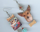 Custom made Dog earrings - pet jewelry - your pet's photo made to order - asymmetrical mismatched earring Designs by Annette - personalized