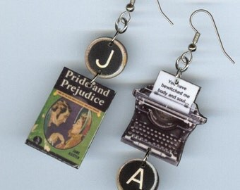 Book cover earrings - Pride and Prejudice Jane Austen quote - Typewriter key jewelry - literary book club readers gift