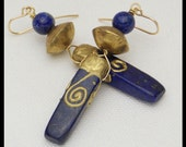 EGYPTIAN QUEEN - Lapis Smothered in Gold - Handmade African Brass Beads - Unique Statement Earrings
