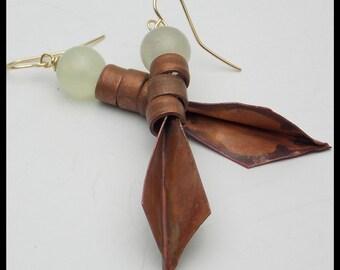 JADE and COPPER - Jade - Handforged Foldformed Flamed Copper Earrings