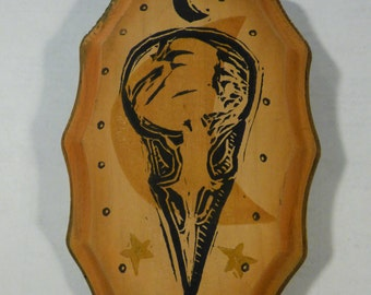 Raven Skull one of a kind block print on wooden plaque for bird fans or creatures of the night