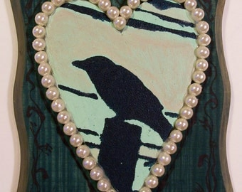 Portrait of The Crow in Grandmas Yard rustic romantic mixed media original bird art on wood