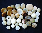 Big Lot of Various Vintage Thicker-Chunky Mother of Pearl Shell Buttons