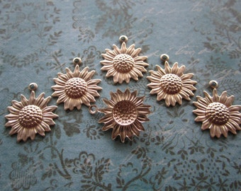 Sunflower Charms Sm Fall Flowers Autumn Brass Flower Supplies on Etsy x 6