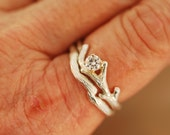 Bud Branch with Moissanite and Band,engagement ring,alternative engagement ring,twig ring,twig engagement ring,branch and,twig band
