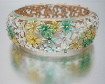 Wide Hinged Clamper Bracelet Cutout Flowers Enameled