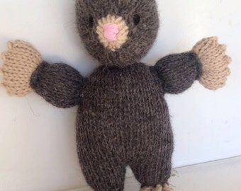 Handknit Stuffed Animal - Mole -  Plush Natural Toy - Woodland Friend Waldorf Toy