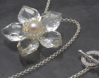 Rock Crystal Clear Quartz Opal Pearl Flower Pendant Necklace