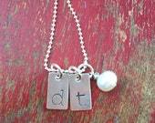 Initial necklace-monogram necklace-hand stamped and custom-tag necklace
