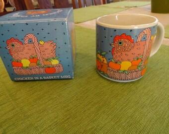 NIB Vintage Taylor & Ng Chicken in a Basket Mug Coffee Cup 1980s