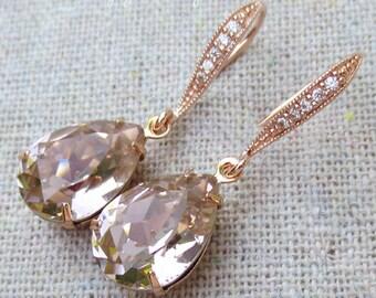 Swarovski Crystal Blush Pink Rose Pear Tear Stone Rhinestone Dangling Delicate Bridal Wedding Rose Gold Cubic Zirconia Bridal Earrings