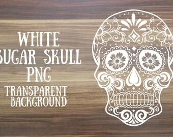 White sugar skull clip art image - transparent background - Instant download digital clip art
