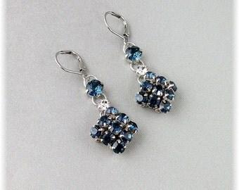 Navy Blue Earrings, Navy Blue Jewelry, Navy Weddings, Navy Blue Bridesmaids, Dark Blue Crystals, Diamante Earrings