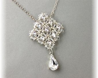 Clear Crystal and Rhinestone Teardrop Pendant, Beaded Bridal Pendant, Wedding Necklace, Focal Pendant, Wedding Day Jewelry
