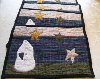 Placemats, Quilted,  set of 4, Decor, Winter, Snowman, Primitive, Homespun, Rustic, Quiltsy Handmade