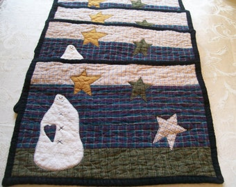 Placemats, Quilted,  set of 4, Decor, Winter, Snowman, Primitive, Homespun, Rustic, Quiltsy Handmade, cij