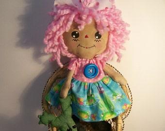 Primitive Raggedy Ann Doll,  Raggedy Doll, Pink Rag Doll
