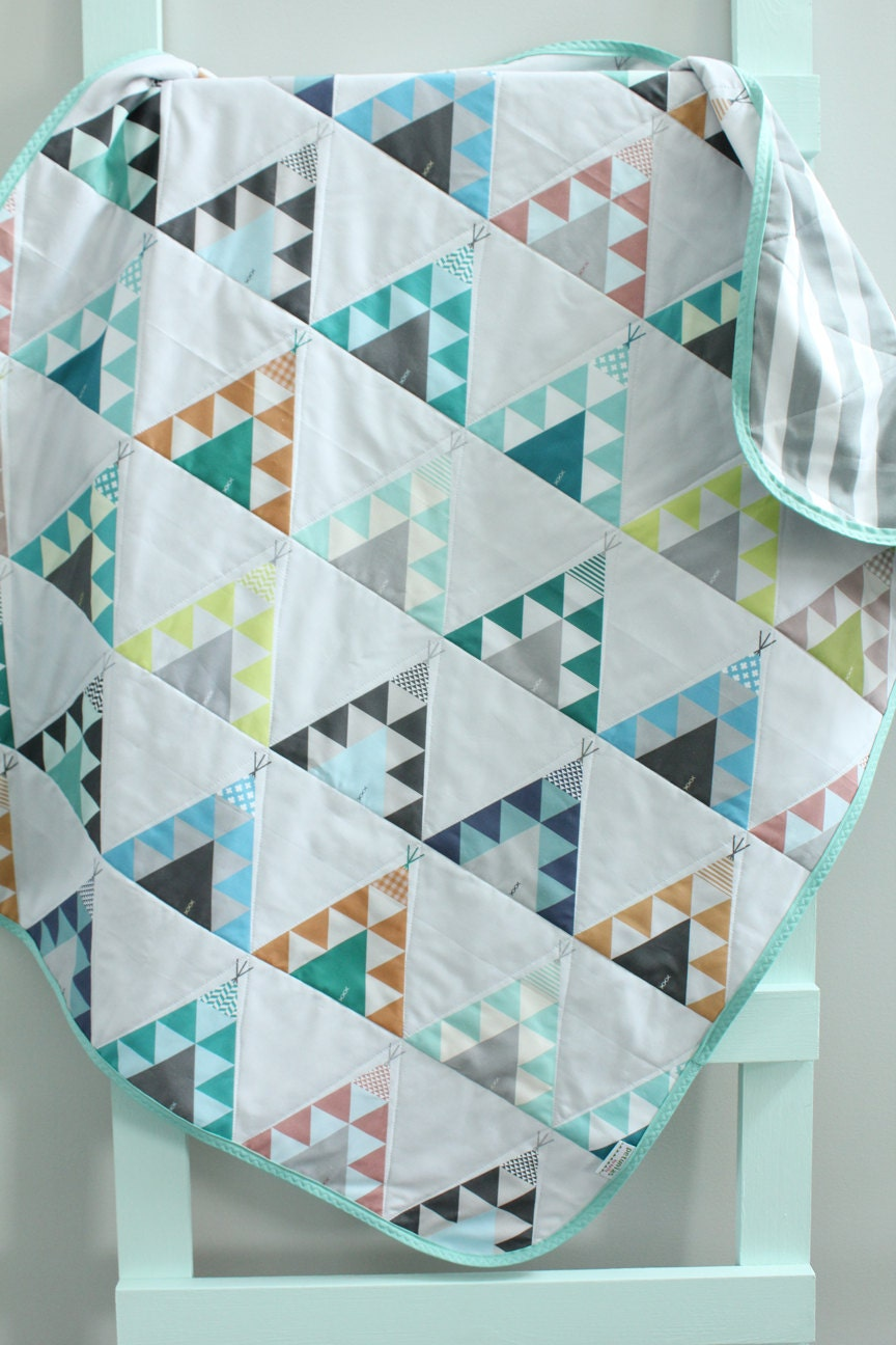 Baby Quilt Blue Teepee Southwest Bohemian By Petunias Blanket
