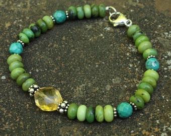 Chrysoprase, Turquoise, Citrine, Sterling Silver Bracelet, Chrysophrase Bracelet, Green Blue Bracelet, Handmade Bracelet, Genuine Gemstones