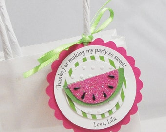 Watermelon Favor Tags- Set of 12- Girl 1st Birthday