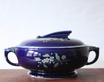 Vintage Art Deco Blue Hall Garden Flower Sundial Lidded Casserole Dish, Covered Tureen, Lidded Crockery