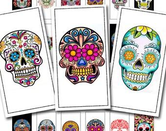 dia de los muertos, or Day of the Dead sugar skull tattoos in a 1 x 2 inch size, a digital download, no. 561.